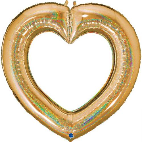 GOLD GLITTER LINKY HEART 41""